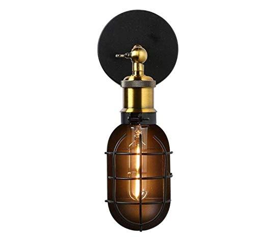 Apliques de Loft industriales Vintage Lámpara de Pared Antigua Ajustable Pantalla de Metal Negro Brazo Flexible de Color latón, Negro, A