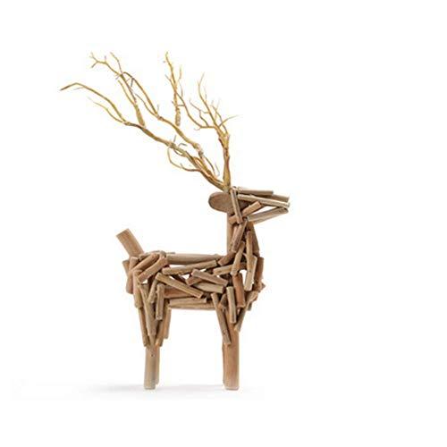 GaoF Estatua de Ciervo, Escultura de Animales de Madera, Figura navideña de Reno, decoración del hogar, luz Nocturna, como niños, Mujeres, niñas, Regalo-d 60x100cm