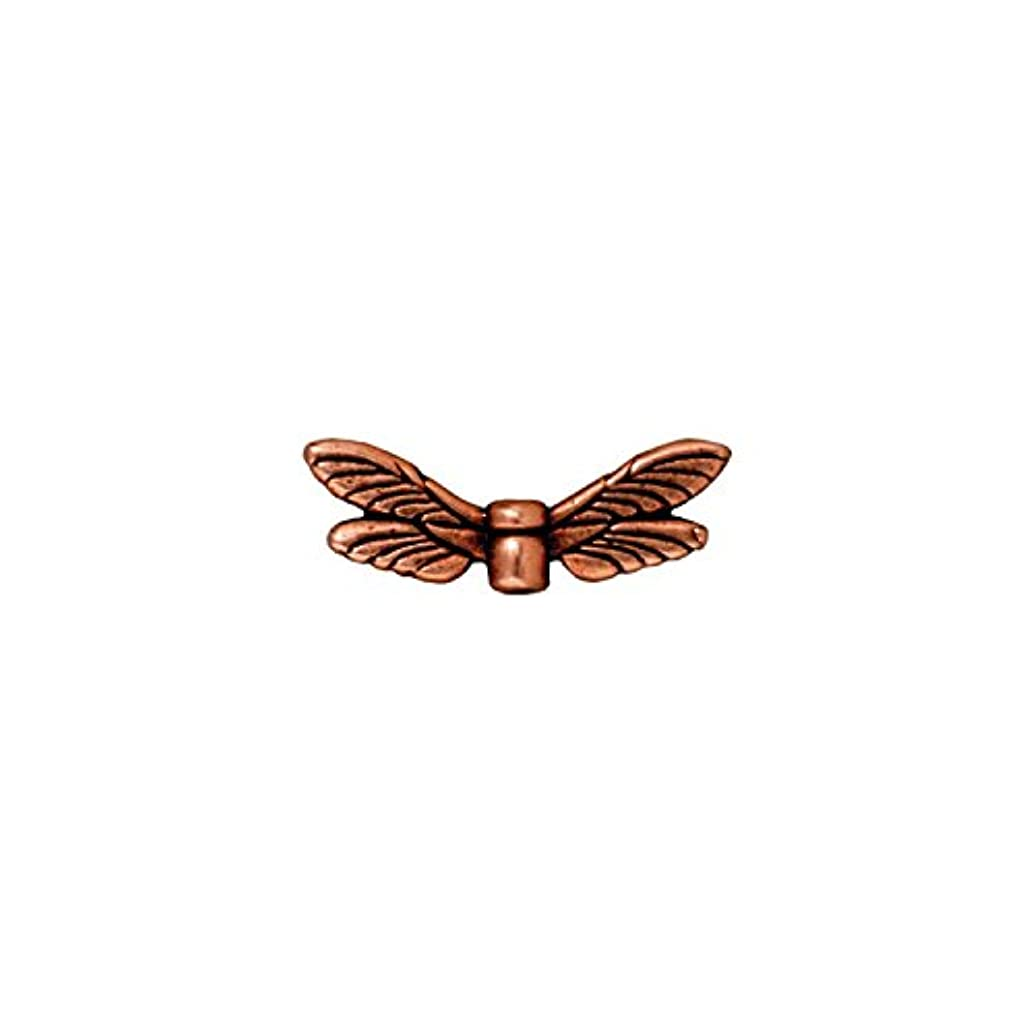 TierraCast Dragonfly Wings, 7x20mm, Antiqued Copper Plated Pewter, 4-Pack