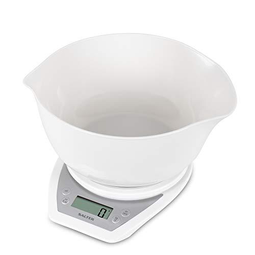 Salter Balance de cuisine électronique avec Bol 2 litres - Pèse les aliments / liquides en grammes, ml, onces, livres - Deux becs verseurs - Facile à lire - Fonction Tare - Blanc