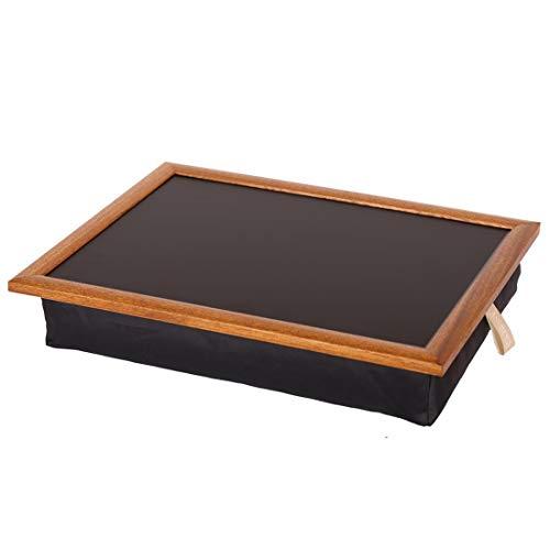 Andrew´s Knietablett Laptray mit Kissen Tablett für Laptop Stoff Uni schwarz/of schwarz/Rahmen Eiche