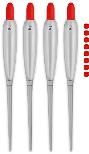 Storfisk fishing & more 4 oder 6 Stück Allround Clear Laufposen Transparent inkl. Silikon-Posenringe - auch als Feststellposen verwendbar, Tragkraft Posen:3 Gramm