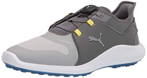 PUMA Men's Ignite Fasten8 Disc Golf Shoe, High Rise Silver-Quiet Shade, 10.5