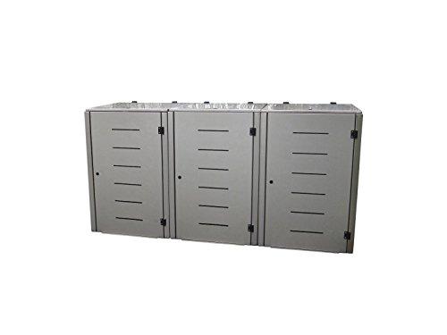 Mülltonnenbox Edelstahl, Modell Eleganza Line1, 120 Liter als Dreierbox