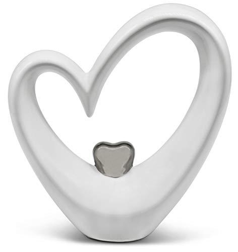 FeinKnick Stilvolles Herz zur Dekoration - modernes Dekoherz 19 cm groß in Weiß & Silber - Deko in Herzform gut als Geschenk geeignet - stilvolles Keramik-Herz