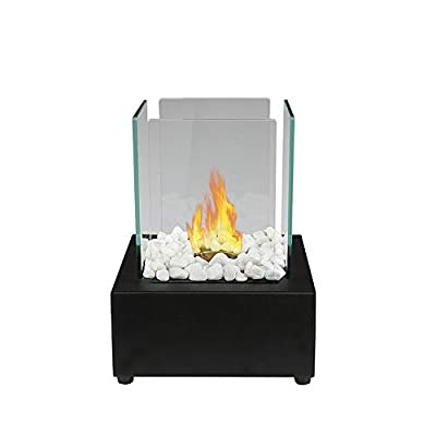 Vulcan Table top bioethanol Fireplace with a 6cm x 6cm 304 Stainless Steel Single Burner and Control Tool.