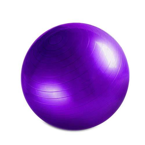 Pelota de gimnasia, 65 cm, pelota de estabilidad, pelota de terapia, pilates y yoga, 55 cm, antipinchazos, robusta para adultos, oficina, gimnasio en casa, gimnasio, púrpura, aprox. 65 cm de diámetro