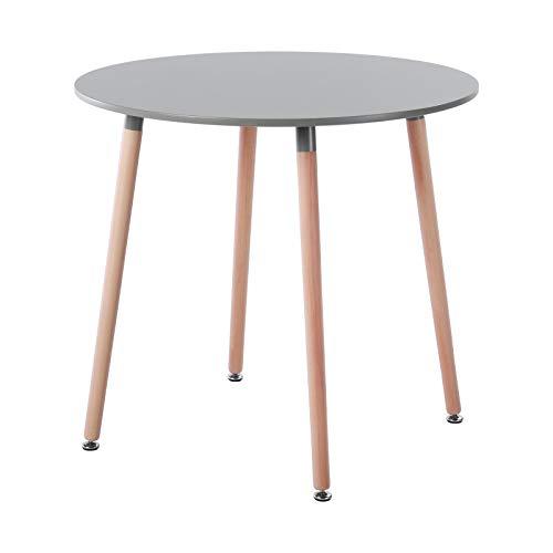 H.J WeDoo Rund Esstisch Skandinavisch Küchentisch Modern MDF Esszimmertisch Holztisch,80 * 80 * 75 cm, 4 Beine Natur, Grau