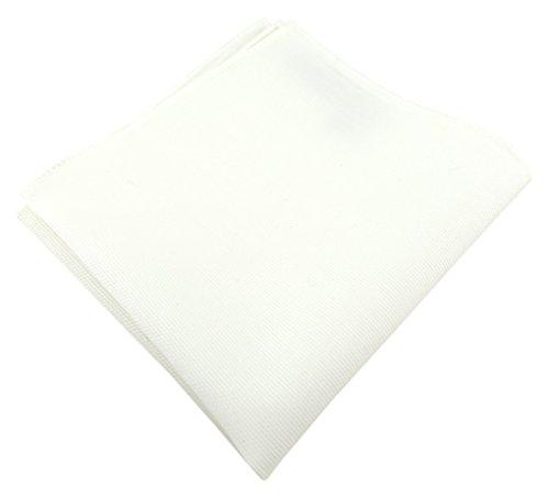 TigerTie - Fazzoletto da taschino di alta qualità, 100% cotone, tinta unita, 26 x 26 cm, Bianco crema, Taglia unica