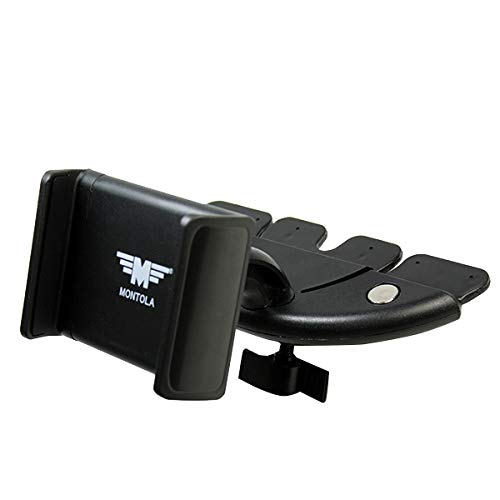 MONTOLA® CD CD DVD Schacht Handyhalterung Auto UNIVERSAL Kugelgelenk KFZ PKW Auto kompatibel mit Samsung Galaxy S9 S8 S5 S6 S7 Note 5 A7 A8 A9 Huawei P8 P9 P10 P20 iPhone 7 7S 6 S 6s 8s 9s X XR Xs