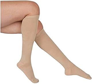 EvoNation Women's USA Made Graduated Compression Socks 15-20 mmHg Moderate Pressure Medical Quality Ladies Knee High Support Stockings Hose - Best Comfort, Circulation, Travel (Small, Tan Beige Nude)