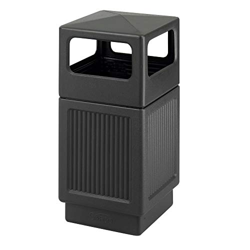 Safco Products Canmeleon Outdoor/Indoor Recessed Panel Trash Can 9476BL, Black, Decorative Fluted...