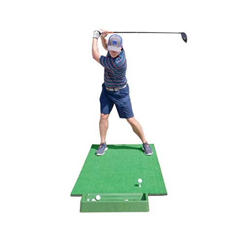 SharperGolf 3' x 5' Premium Quality Golf Practice Hitting Mat, with Large Ball Tray, 3 Alignment Sticks, Training Aid, 12 Practice Balls, 3 Mat Tees