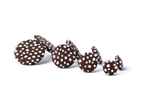 Ohrstecker Ohrringe braun weiß Punkte gepunktet - 1 Paar - Stoff Stoffohrringe Stoffohrstecker Handmade MotleyBees Motley Bees