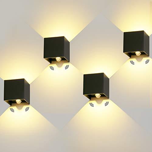 4 Stücke LED Wandleuchte Aussen 12W mit Bewegungsmelder Aussenlampe...