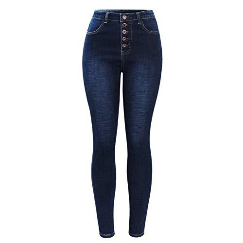 NCAYKL Pantalones Vaqueros de Cintura Alta para Las Mujeres Elástico Azul Oscuro Botón Mosca Pantalones Pitillo de Mezclilla Pantalones