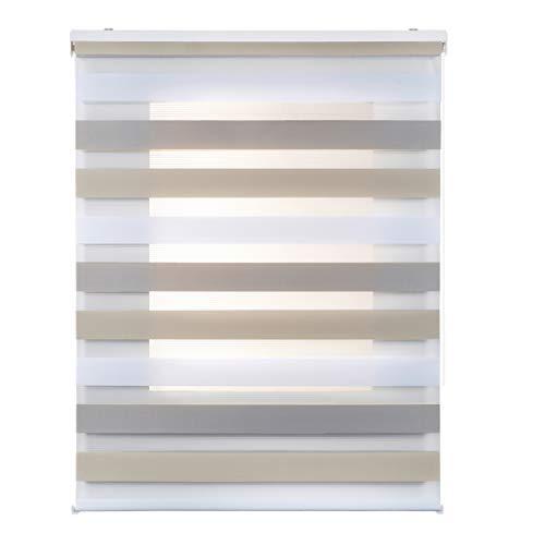 STORESDECO Estor Noche y Día, Estor Enrollable con Doble Tejido para Ventanas y Puertas (140 cm x 180 cm, Tricolor)