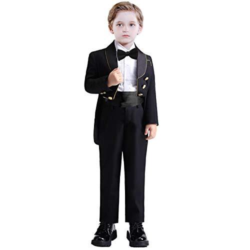 Baby Boys' Baptism Tuxedo Suit 5 Pieces Tailcoat Waistband Pants Shirt Bow Tie Black Size 3T