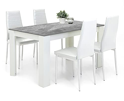 Dining Table And Chairs Set 4 White Pu Leather Foam Ribbed High Back Padded Chairs With 16mm Thick Table Top 117x77cm Long Grey Wooden Dining Table Modern Design Dining Room Sets Home Furniture