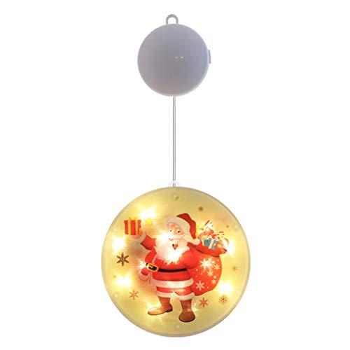 OKwife - Lámpara LED de Ventosa para Ventana de Navidad, Campana de Ciervo con Copo de Nieve Colgante Flexible para Halloween