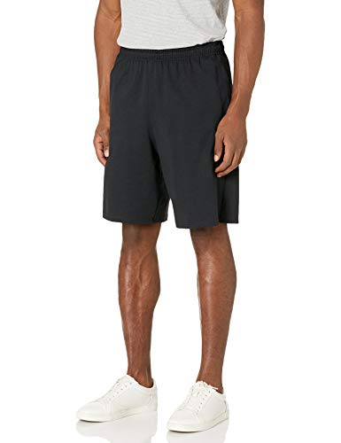 Russell Athletic Men's Cotton Baseline Short with Pockets, Black, Medium