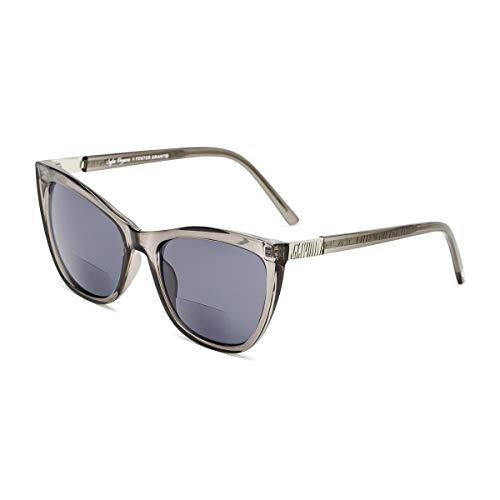 Sofia Vergara x Foster Grant Women's Sofia SunReaders Cat-Eye Reading Glasses, Shiny Crystal Gray, 56 mm + 1.5