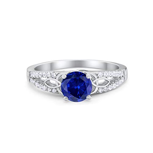 Celtic Art Deco Wedding Engagement Bridal Ring Round Simulated Blue Sapphire Cubic Zirconia 925 Sterling Silver Size-6
