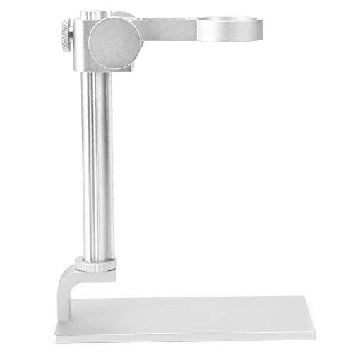 Microscope Stand, Aluminum Alloy Universal Adjustable Base Stand Holder Desktop Support Bracket, for 32-34mm in Diameter USB Digital Endoscope Microscope, Microscope Holder Accessory(White)