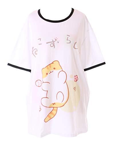 TP-181-9 Tiger kat spel bal kat wit grafisch T-shirt Harajuku Kawaii