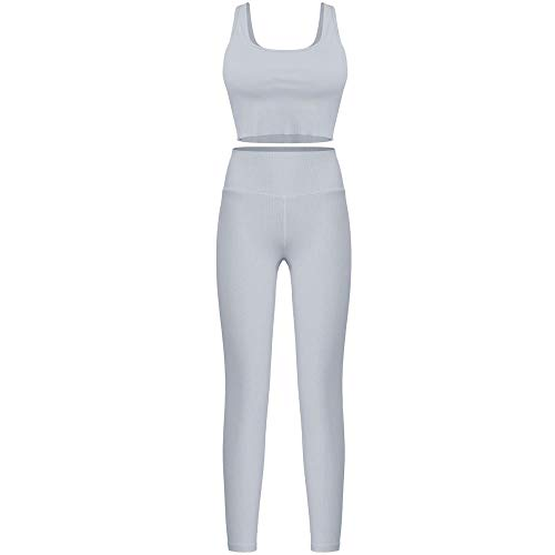 FAYHRH Ropa Deportiva Mujer Gym Conjuntos,Traje de Fitness de Yoga Deportivo Ajustado, Ropa de Running para Mujer-Gris Oscuro_X-Small