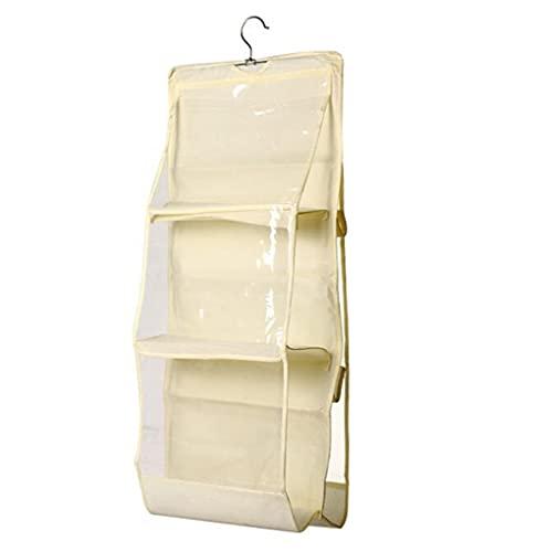 Organizer da appendere per borsa,porta borse, 6 tasche, antipolvere, per armadio, armadio, salvaspazio, lavabile (giallo chiaro)
