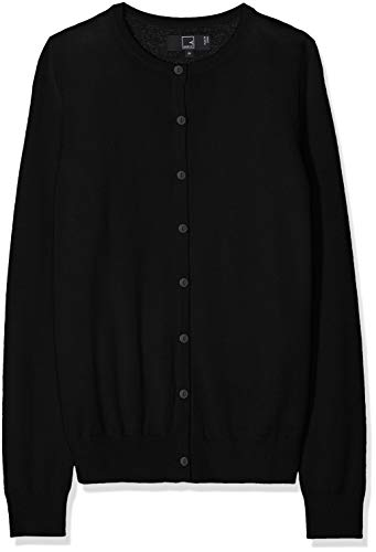 Meraki Women's Merino Crew Neck Cardigan Sweater,  (Black), EU L (US 10)