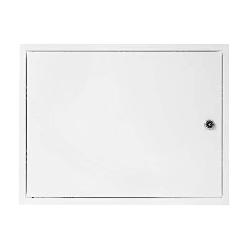 Tapa de inspección con cerradura, 20 x 30 cm, acero galvanizado, color blanco, se puede cerrar, para puerta de inspección (200 x 300 mm)