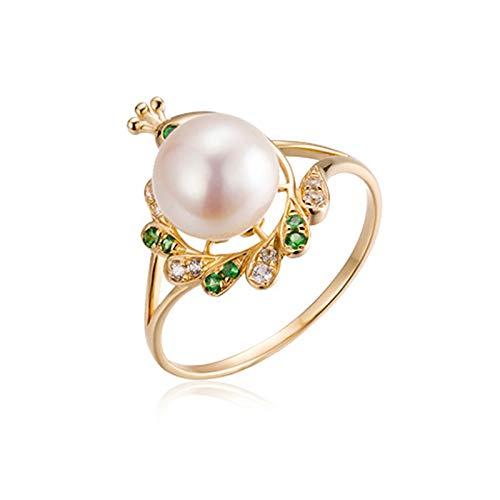 Socoz Mujer Unisex oro amarillo 18 quilates (750) redonda White Pearl