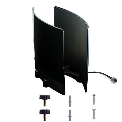 GE UltraPro Optima TV Antenna with Signal Enhancing Reflector Panel, Supports 4K 1080P VHF UHF HD Digital Long Range Antenna, Smart TV Compatible, includes 10ft Coaxial Cable, Black, 34137
