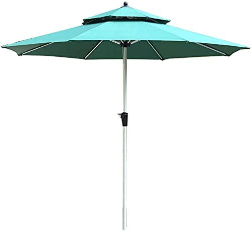 XHPC Garden parasol, Garden P Outside 2.7m /9ft Patio Umbrella, Double Layer Sunbrella Large Garden Table Parasol with Ventilation, Aluminum Ribs & Poles, for Lawn/Pool/Beach (Color : G