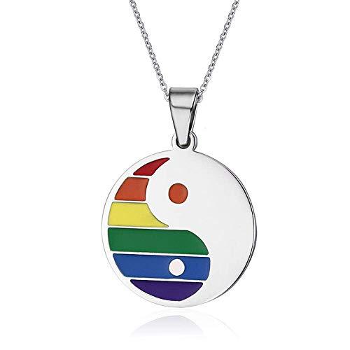 ZSML Halsketten Frauen Männer Edelstahl Regenbogen Yin Yang Anhänger für Gay Lesbian Pride Free Chain