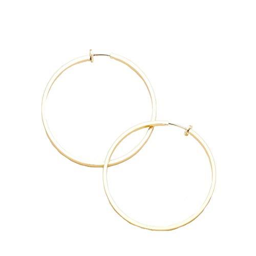 Schmuckanthony Hoernel - Pendientes de aro con clip (chapados en oro, hipoalergénicos, 6 cm)