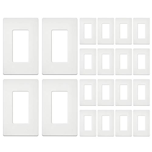 [20 Pack] BESTTEN 1-Gang Screwless Wall Plate, USWP4 White Series, Decorator Outlet Cover, H4.69