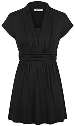 Bepei Womens Tops,Short Sleeve Slimming Fitting Flowy Tunic Comfort Summer Casual Shirt Loose Bottom Rayon Spandex V Neckline Blouses Plus Size Black 2XL