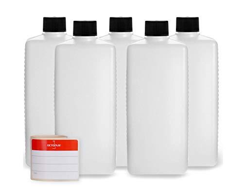 5 botellas de plástico de Octopus de 500 ml, botellas de plástico de HDPE con negro tapones de rosca, botellas vacías con tapas de negro rosca, botellas rectangulares con 5 etiquetas para marcar