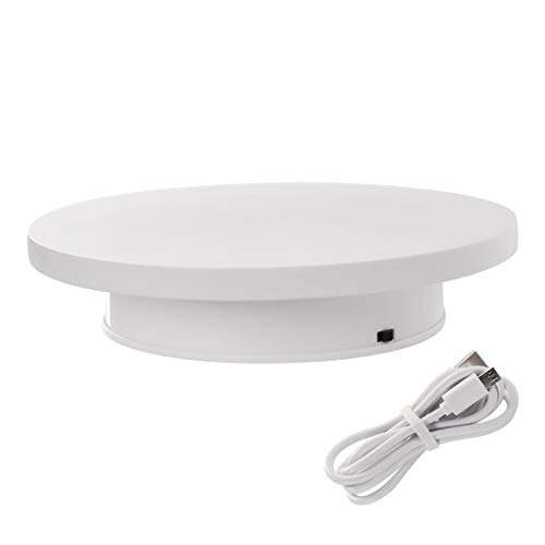 fotoconic Motorized Rotating Display Stand, 8 Inches Electric Turntable, White Revolving Base for 360 Degree Product Images or Jewelry, Collectible Display