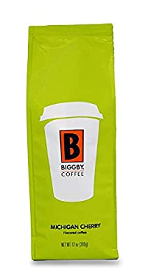 Ground Coffee by BIGGBY COFFEE | Michigan Cherry Coffee Flavor 12oz Bag | Medium Roast Coffee Grounds Bagged in USA | Flavored Coffee Perfect for: Coffee Maker, Pour Over, & French Press | Enjoy in Mug or Tumbler