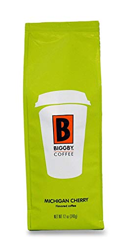 Ground Coffee by BIGGBY COFFEE  Michigan Cherry Coffee Flavor 12oz Bag  Medium Roast Coffee Grounds Bagged in USA  Flavored Coffee Perfect for Coffee Maker Pour Over French Press  Enjoy in Mug or Tumbler