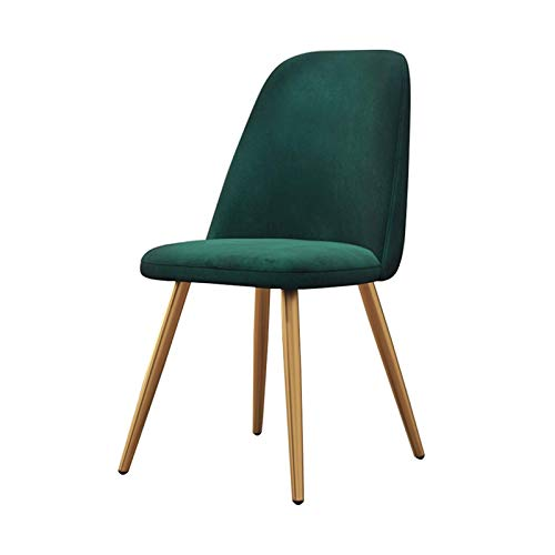 Dining Chairs Ergonomic Office Chair Backrest Soft Cushion Tulip Style Metal Chair Legs Upholstered Seat Dining Office Lounge Chair (Color : Green)
