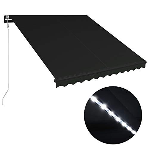 Festnight Luifel uittrekbaar met windsensor en LED zonnescherm met zonnescherm Tuinterras Luifel Luifel Gazebo Multi-streep met 350x250 cm antraciet