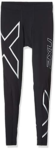 2XU Men's Core Compression Tights, Black/Silver, Large