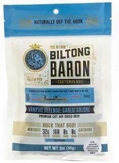 Biltong Baron Vampire Defense Garlic Galore Recipe, 2oz Bags (3 Bags), A Cut Above Jerky with Pure Protein, No Sugar, No C...