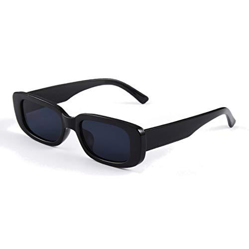 Long Keeper Gafas de sol rectangulares Protección UV400 Gafas de conducción retro para mujer (Negro)