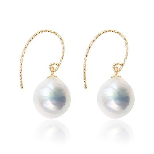 The Vanilla's 10-11mm natural Baroque pearl ladies earrings,14K Gold filled eardrop Lady's gift comes with jewelry box (White)